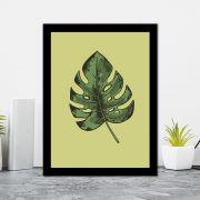 Quadro Decorativo 27x36 Ilustração Costela de Adão Fundo Verde