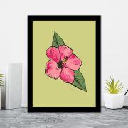 Quadro Decorativo 27x36 Ilustração Flor Rosa Fundo Verde