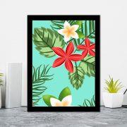 Quadro Decorativo 27x36 Ilustrações de Folhagens Tropicais