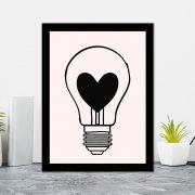 Quadro Decorativo 27x36 Lampada com Coração