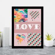 Quadro Decorativo 27x36 Love Fundo Geométrico