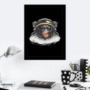 Quadro Decorativo 27x36 Macaco Astronauta