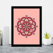Quadro Decorativo 27x36 Mandala 4 -  Fundo Rosa