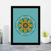 Quadro Decorativo 27x36 Mandala 6 -  Fundo Verde Escuro