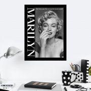 Quadro Decorativo 27x36 Marilyn Monroe Preto e Branco