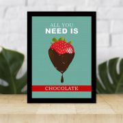 Quadro Decorativo 27x36 Morango com Chocolate