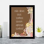 Quadro Decorativo 27x36 Não Deixe Seus Sonhos Serem Apenas Sonhos