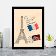 Quadro Decorativo 27x36 Paris Desenho Cartão Postal