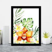 Quadro Decorativo 27x36 Pintura Flores Tropicais