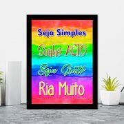 Quadro Decorativo 27x36 Seja Simples, Sonhe Alto, Seja Grato, Ria Muito