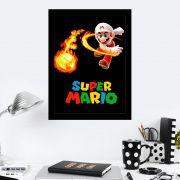 Quadro Decorativo 27x36 Super Mário Bola de Fogo