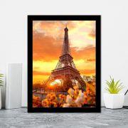 Quadro Decorativo 27x36 Torre Eiffel Pôr do Sol