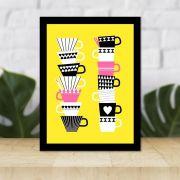 Quadro Decorativo 27x36 Xícaras de Café
