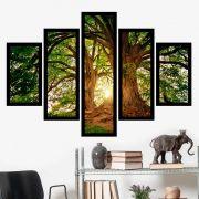 Quadro Mosaico 5 Partes A Árvore Com Moldura