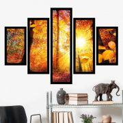 Quadro Mosaico 5 Partes Árvore Com Sol De Outono Com Moldura