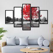 Quadro Mosaico 5 partes Árvore Vermelha no Lago