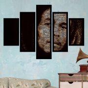 Quadro Mosaico 5 Partes Bob Marley Com Moldura