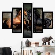 Quadro Mosaico 5 Partes Casal De Cavalos Com Moldura