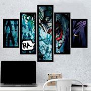Quadro Mosaico 5 Partes Coringa Em Quadrinhos Com Moldura