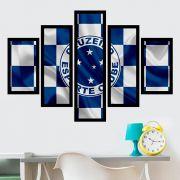 Quadro Mosaico 5 Partes Cruzeiro Com Moldura