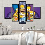 Quadro Mosaico 5 partes Família Simpsons
