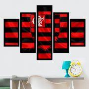 Quadro Mosaico 5 Partes Flamengo Com Moldura