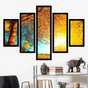 Quadro Mosaico 5 Partes Folhagens Amarelas Com Moldura