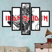 Quadro Mosaico 5 Partes Iron Maiden Com Moldura
