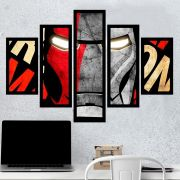 Quadro Mosaico 5 Partes Iron Man Com Moldura