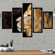 Quadro Mosaico 5 Partes Leão de Judá Colorido