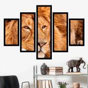 Quadro Mosaico 5 Partes Leão Deitado