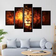 QUADRO MOSAICO  5 PARTES LION OF JUDAH