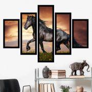 Quadro Mosaico 5 Partes O Cavalo Negro Com Moldura