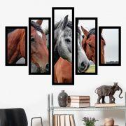 Quadro Mosaico 5 Partes Os Cavalos