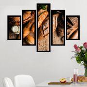 Quadro Mosaico 5 Partes Pães Diversos Com Moldura