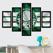 Quadro Mosaico 5 Partes Palmeiras Com Moldura