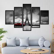 Quadro Mosaico 5 partes Paris Carro Vermelho
