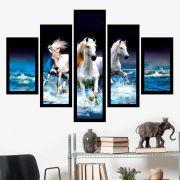 Quadro Mosaico 5 Partes Pequeno Os Três Cavalos Brancos COM MOLDURA