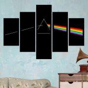 Quadro Mosaico 5 Partes Pink Floyd Com Moldura