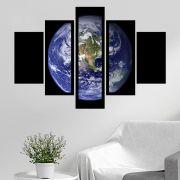 Quadro Mosaico 5 Partes Planeta Terra Com Moldura