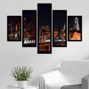 Quadro Mosaico 5 Partes Ponte Golden Gate Noite Com Moldura