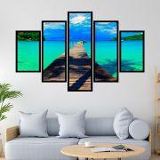 Quadro Mosaico 5 partes Ponte Praia Tropical