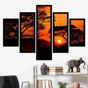 Quadro Mosaico 5 Partes Pôr Do Sol Com Árvores Com Moldura