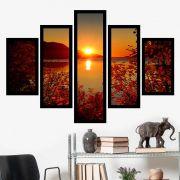 Quadro Mosaico 5 Partes Pôr do Sol com Folhagens Com Moldura