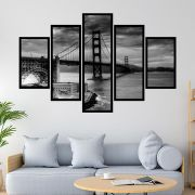 QUADRO MOSAICO 5 PARTES SAN FRANCISCO GOLDEN GATE