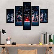 Quadro Mosaico 5 Partes Santa Ceia Do Star Wars Com Moldura