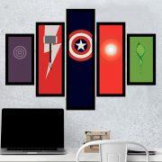 Quadro Mosaico 5 Partes Simbolo Dos Vingadores Com Moldura