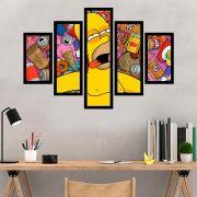 Quadro Mosaico 5 Partes Simpsons Com Moldura