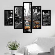 Quadro Mosaico 5 Partes Táxi Em New York Com Moldura