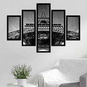 Quadro Mosaico 5 Partes Torre Eiffel P&b Com Moldura